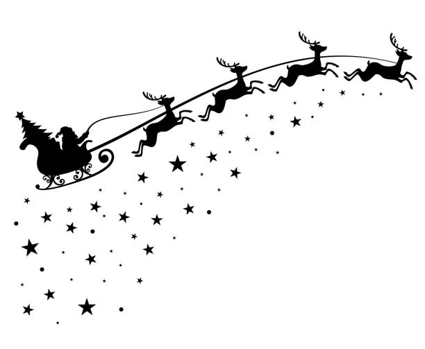 Santa Claus on sleigh flying sky with deers black vector silhouette for winter holiday decoration and Christmas greeting card Santa Claus on sleigh flying sky with deers black vector silhouette for winter holiday decoration and Christmas greeting card. Monochrome santa claus with christmas tree in night sky illustration sled stock illustrations
