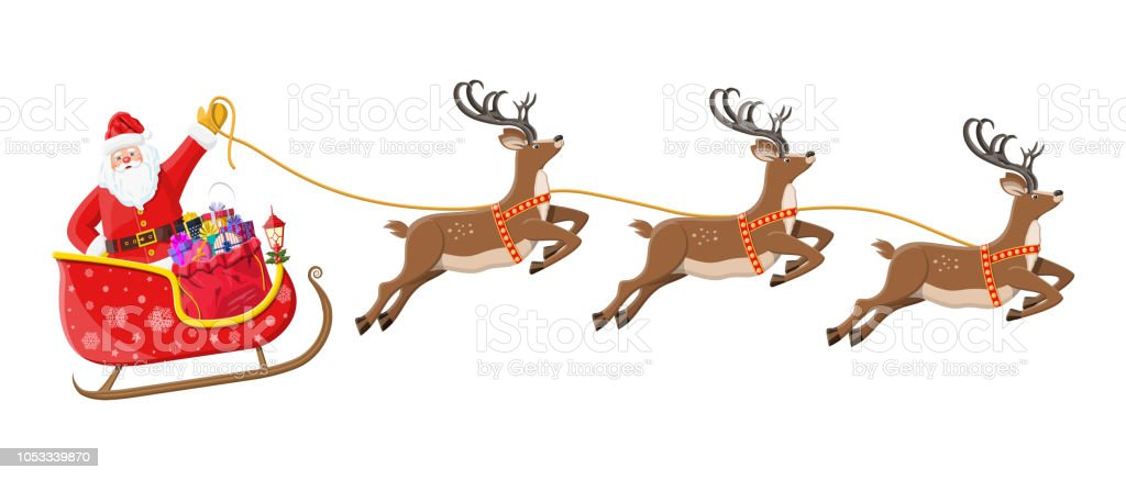 Santa Claus On Sleigh Full Of Gifts And Reindeers Stock Vector Art