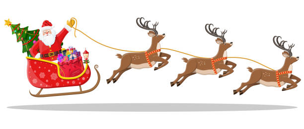 Santa claus on sleigh full of gifts and reindeers Santa claus on sleigh full of gifts, christmas tree and his reindeers. Happy new year decoration. Merry christmas holiday. New year and xmas celebration. Vector illustration in flat style sled stock illustrations