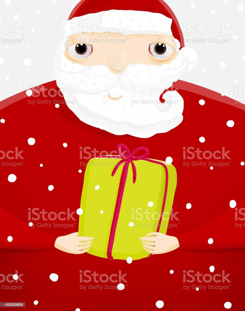 Santa Claus Auf Schnee Hintergrund Mit Geschenk Stock Vektor Art Und