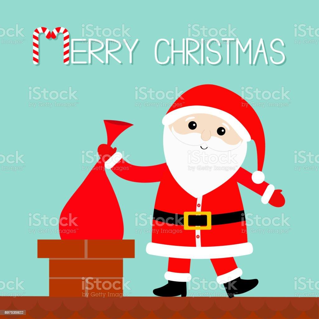 Père Noël Sur Le Saccadeau Mise De Toit Dans La Cheminée