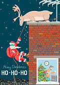 A funny picture has the proportions and dimensions of an international postcard. Santa Claus descends on a rope along the wall of the house, like a steeplejack. A northern deer is waiting for him on the roof. Santa without face.