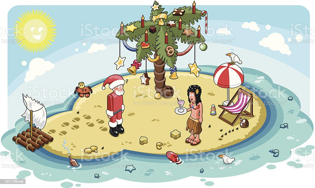 Santa Claus on tropical island with palm christmas tree (vector) vector art illustration