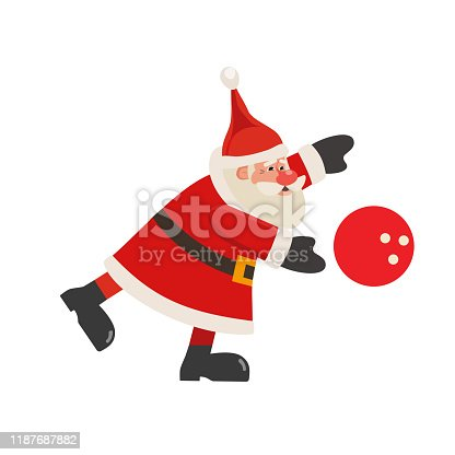 Santa Claus play bowling vector icon isolated on white. Cartoon cute Father Christmas full length portrait. Winter season holiday bowling parties invitation, event celebration background Illustration