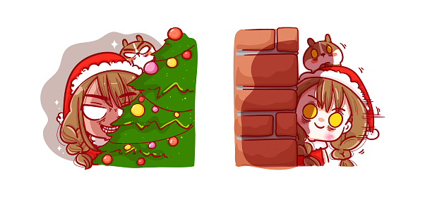 Santa Claus playing peekaboo isolated on Merry Christmas background with characters design.