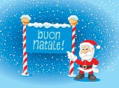 Santa Claus Pointing Buon Natale Sign Snow