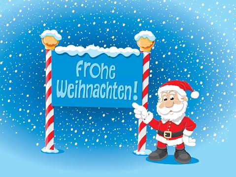 Santa Claus Pointing Frohe Weihnachten Sign Snow
