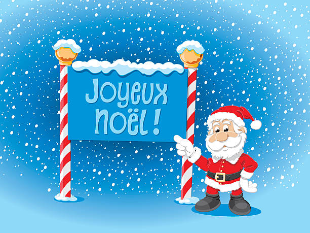 Santa Claus Pointing Joyeux Noel Sign Snow Vector Illustration of a Santa Claus pointing towards a Joyeux Noel sign. For easy editing the pieces are on separate layers: Santa Claus, Sign, text, snow, stars, sky. The colors in the .eps-file are ready for print (CMYK). Included files: EPS (v8) and Hi-Res JPG. cartoon people sign stock illustrations