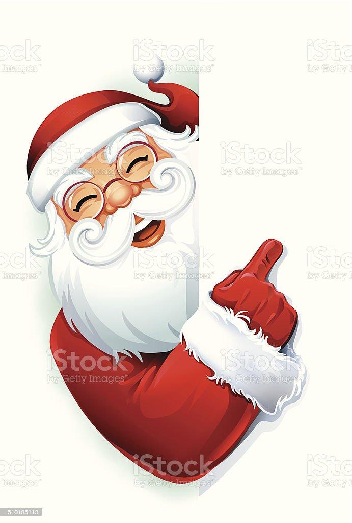 Santa Claus Pointing vector art illustration