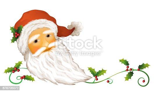 istock Santa Claus portrait Christmas card with Ilex and Mistletoe, 876705072