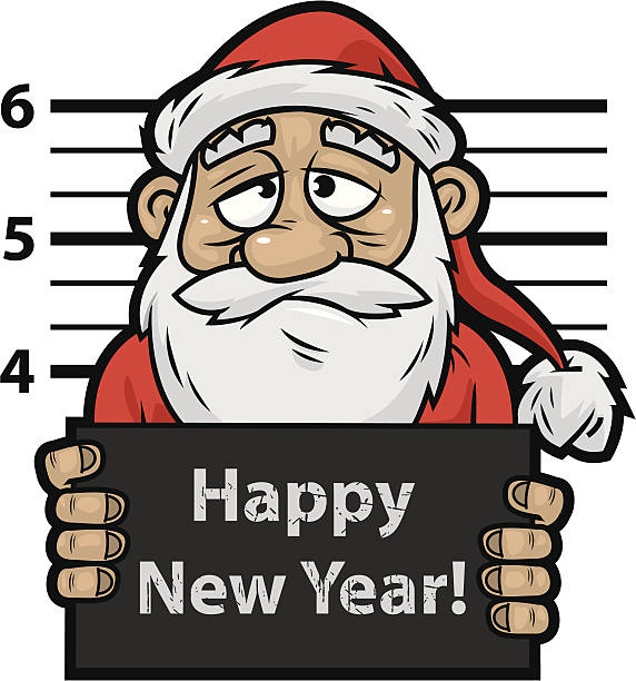 santa claus prisoner - old man pic cartoons stock illustrations, clip art, cartoons, & icons