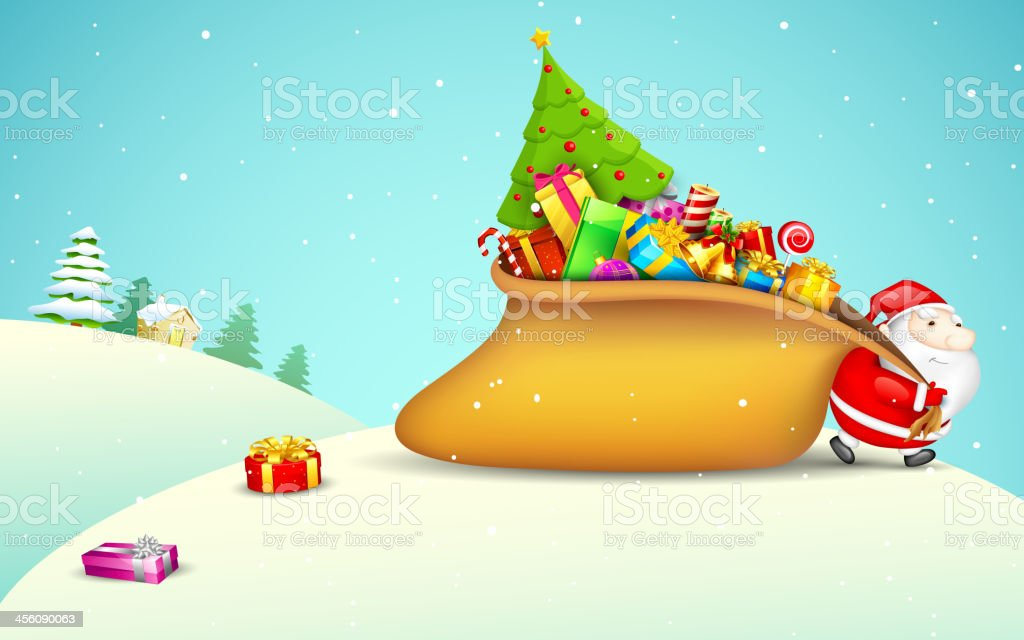 Santa Claus pulling Gift Bag royalty-free stock vector art