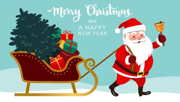 santa claus ziehen schlitten mit weihnachtsbaum und geschenke, läuten einer glocke, frohe weihnachten und happy new year text oben. niedliche happy santa charakter vektorgrafik für grußkarten, banner. - santa stock-grafiken, -clipart, -cartoons und -symbole