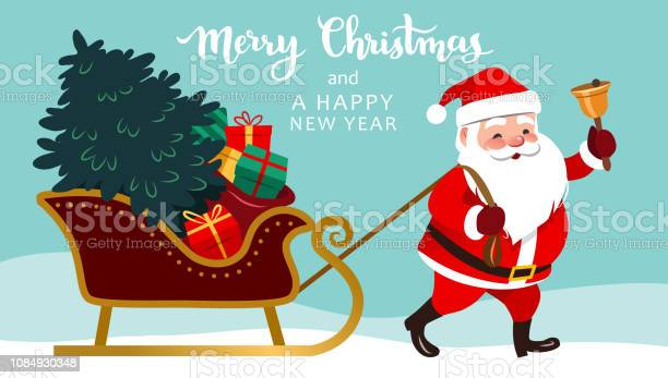 Santa Claus Pulling Sleigh With Christmas Tree And Presents Ringing A Bell Merry Christmas And Happy New Year Text Above Cute Happy Santa Vector Character Illustration For Greeting Cards Banners - Immagini vettoriali stock e altre immagini di Adulto