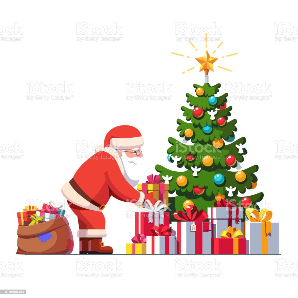 santa claus putting gift box under christmas tree decorated with baubles and shining star big