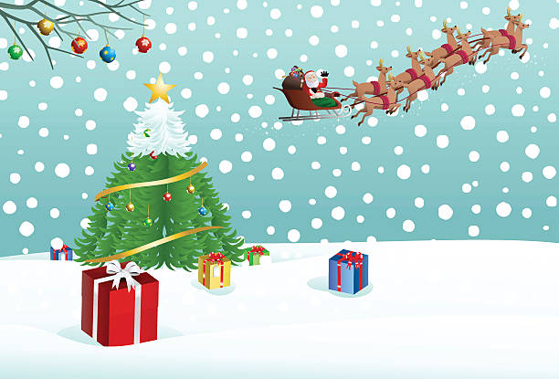 santa claus putting gift on snow near christmas tree - old man funny pictures stock illustrations