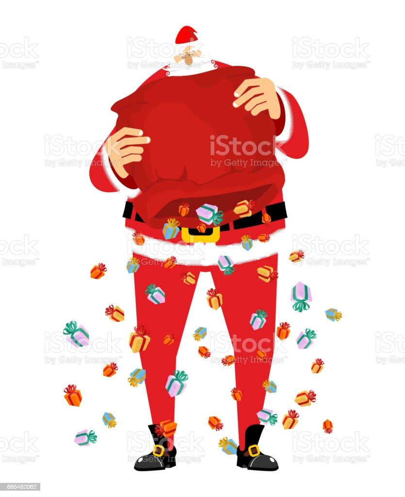 Santa Claus rain gifts from red bag. Christmas sack with gift. gift lot of festive box santa claus rain gifts from red bag christmas sack with gift gift lot of festive box - arte vetorial de stock e mais imagens de alegria royalty-free