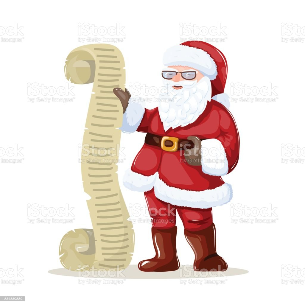 Santa claus reading a letter or list of wishes christmas art stock santa claus reading a letter or list of wishes christmas art royalty free spiritdancerdesigns Gallery