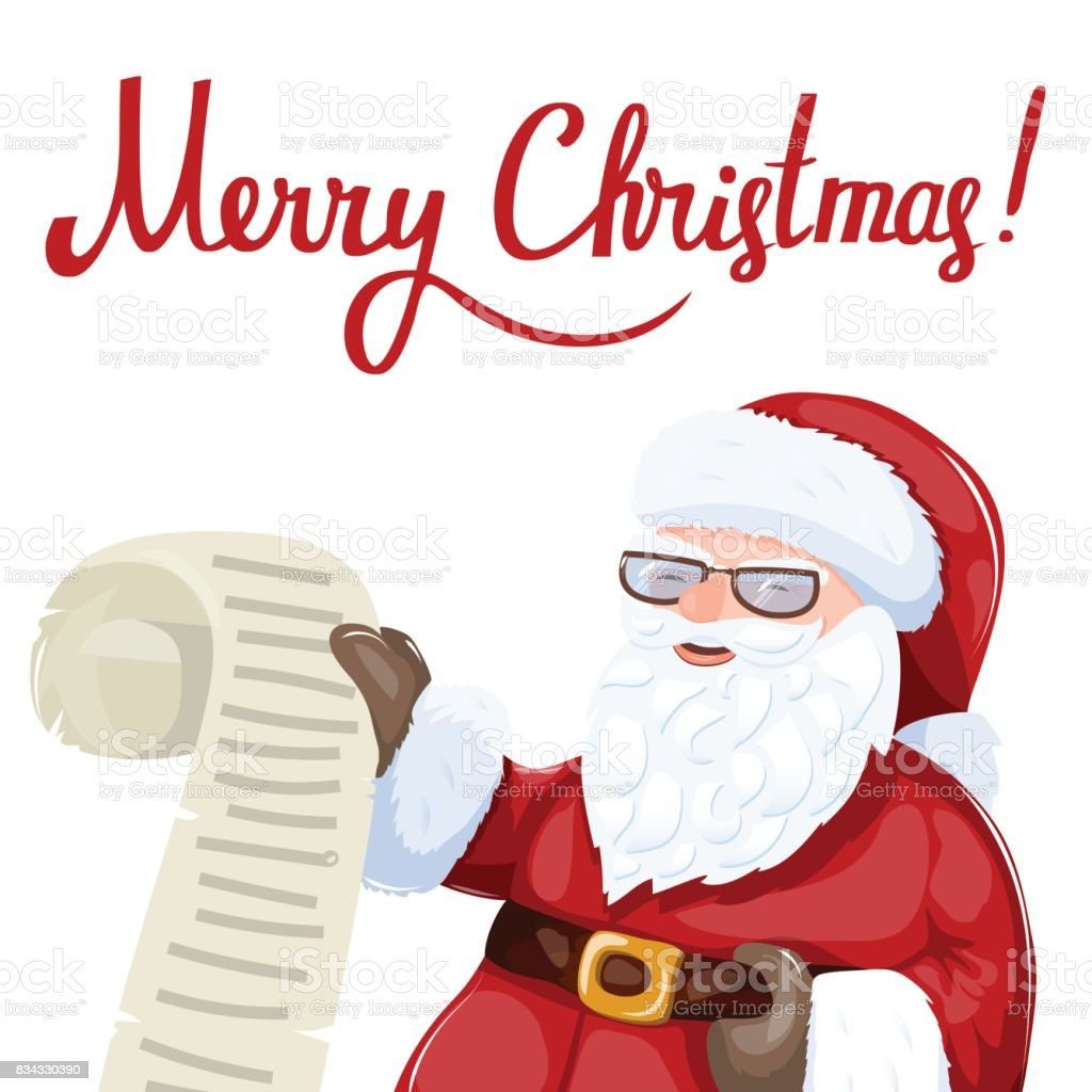 Santa claus reading a letter or list of wishes christmas art stock santa claus reading a letter or list of wishes christmas art royalty free spiritdancerdesigns Image collections