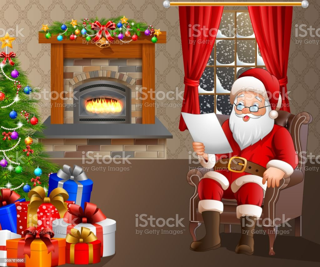 Santa Claus Reading A List Of Gifts In The Living Room Stock Vector
