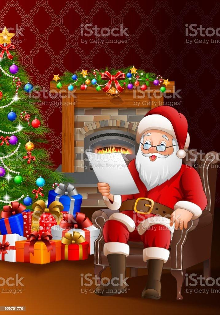 リビング ルームでの贈り物のリストを読んでサンタ クロース お祝いの