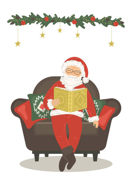 santa claus reading book - old man sitting chair silhouettes stock illustrations, clip art, cartoons, & icons