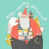 Santa Claus reading books with happy kids and animals. Vector illustration