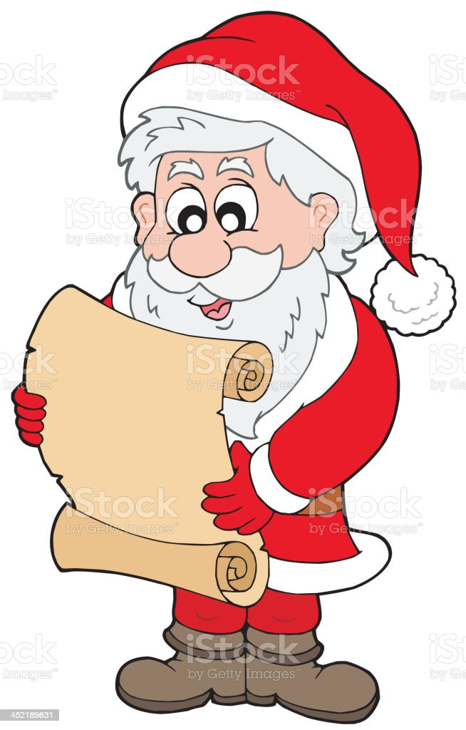 Santa Claus reading parchment royalty-free stock vector art