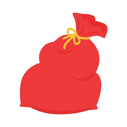 Santa Claus Red Bag Isolated on White. Xmas Sack