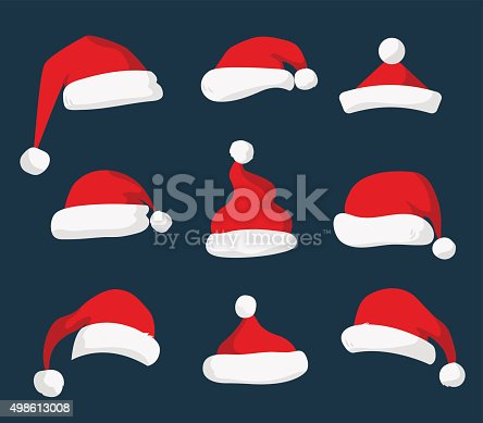 istock Santa Claus red hat vector isolated 498613008