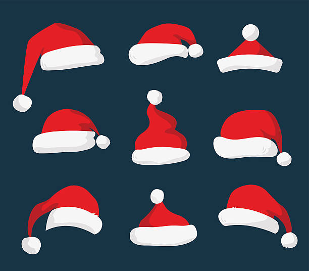 Santa Claus red hat vector isolated Santa Claus red hat silhouette. Santa hat, Santa red hat isolated on background. Santa hat. New Year 2016 santa red hat . Santa head hat vector. Santa Christmas hat decoration. Santa face hat vector santa hat illustrations stock illustrations