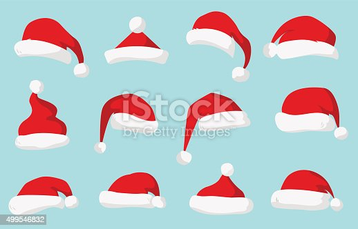 istock Santa Claus red hat vector isolated 499546832