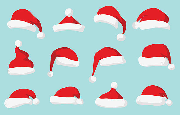 stockillustraties, clipart, cartoons en iconen met santa claus red hat vector isolated - kerstmanhoed