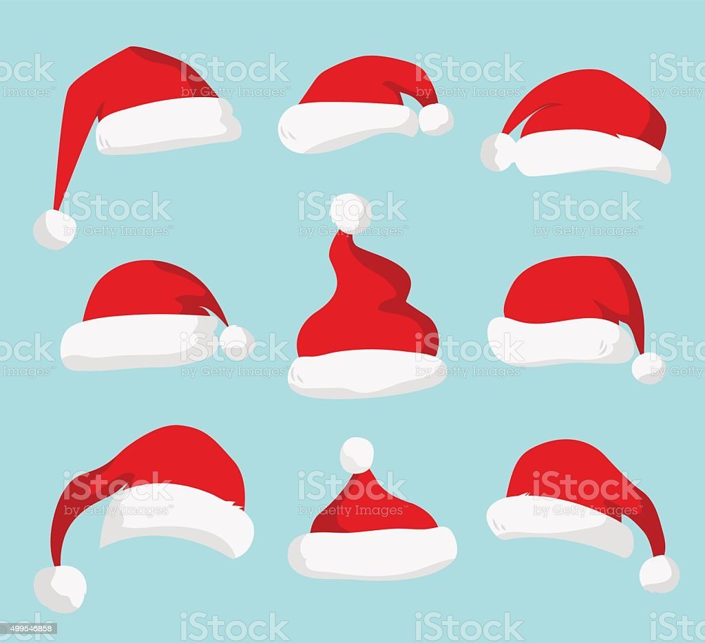 Santa Claus red hat vector isolated vector art illustration