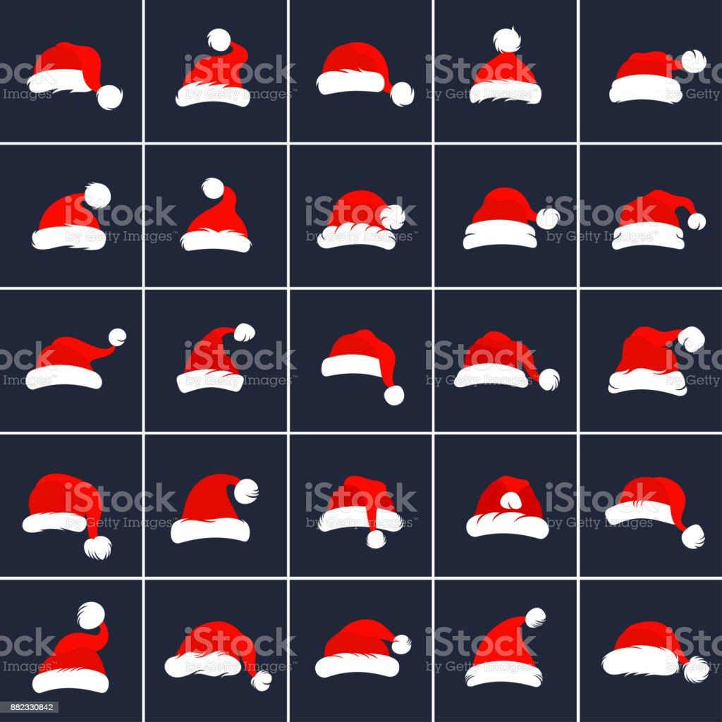 Santa Claus Red Hats vector art illustration