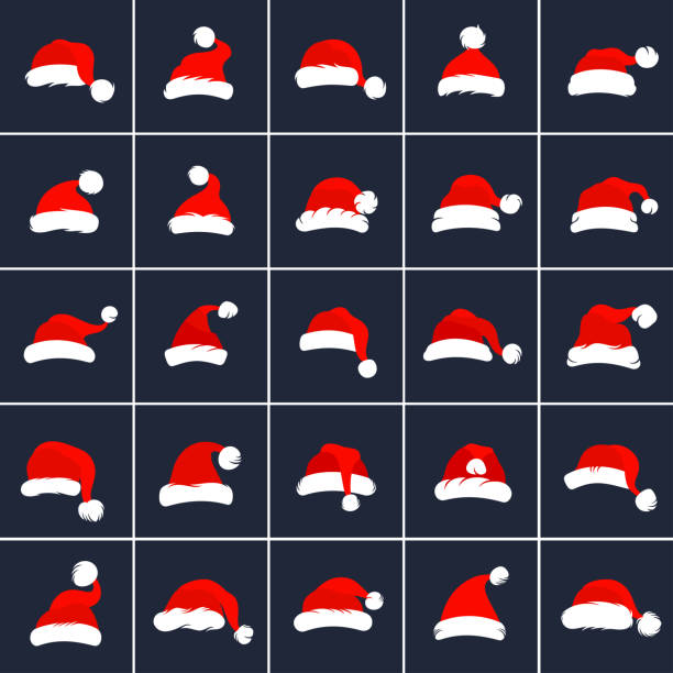 stockillustraties, clipart, cartoons en iconen met santa claus red hats - kerstmanhoed