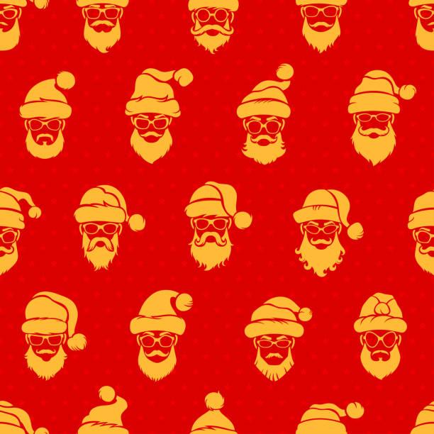 santa claus red nahtlose muster - markenbrillen stock-grafiken, -clipart, -cartoons und -symbole