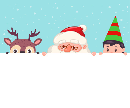 Santa Claus, reindeer and elf looking out of blank sign. Vector cartoon Christmas illustration with cute holiday characters isolated on background.
