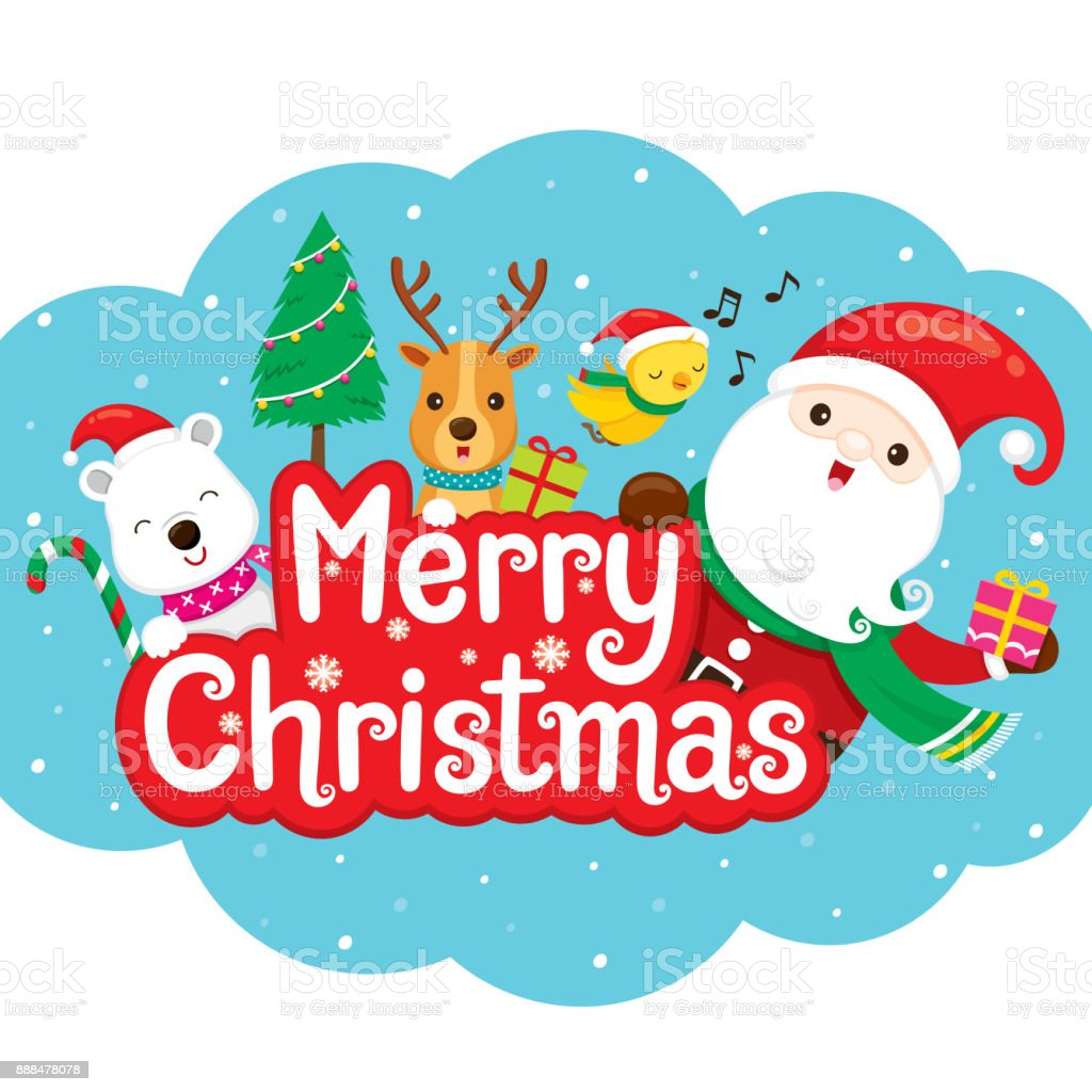 santa claus reindeer and friend on merry christmas banner royalty free santa claus reindeer