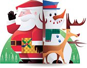 vector illustration of santa claus, reindeer and snowman…