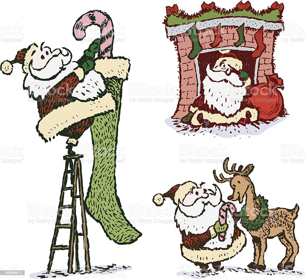 Papá noel de historieta & Reno-Navidad ilustración de papá noel de historieta renonavidad y más banco de imágenes de animal libre de derechos
