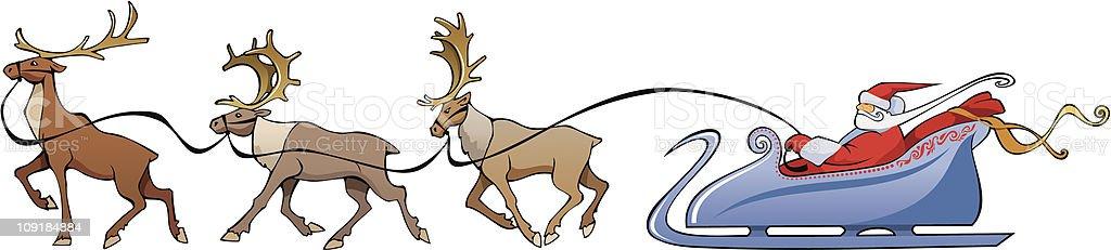 Santa Claus reindeer sleighing vector art illustration