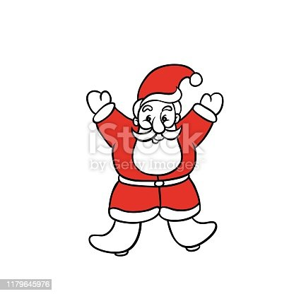 Santa Claus rejoices Christmas and new year. Vector doodle sketch illustration isolated for greeting cards