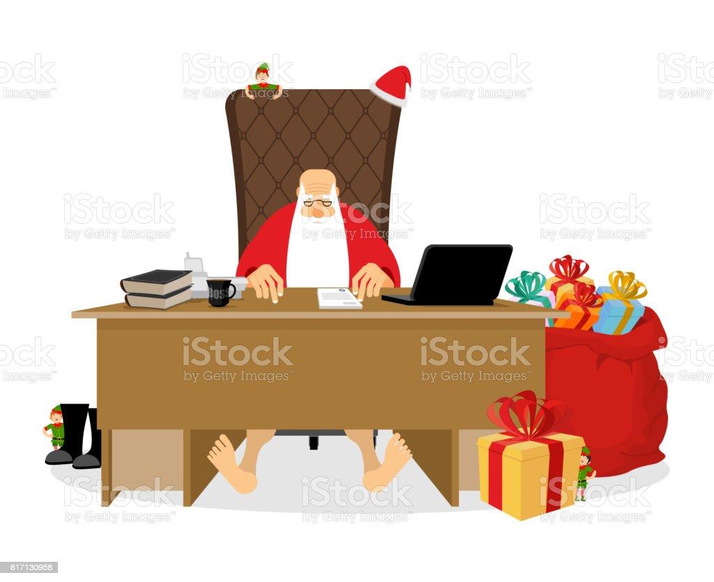 Santa Claus Residenz Weihnachtenchef Im Büro Arbeiten Arbeitsplätze ...