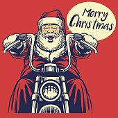 vector of Santa claus ride a motorcycle
