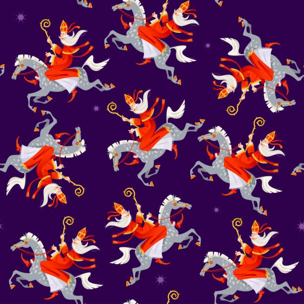 Santa Claus (Sinterklaas) rides a horse. Christmas in Holland.  Seamless background pattern. Santa Claus (Sinterklaas) rides a horse. Christmas in Holland.  Seamless background pattern. Vector illustration. sinterklaas stock illustrations