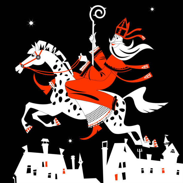 Santa Claus (Sinterklaas) rides a horse over the city at night. Christmas in Holland. Black, white and red. Santa Claus (Sinterklaas) rides a horse over the city at night. Christmas in Holland. Black, white and red. Vector illustration. sinterklaas stock illustrations