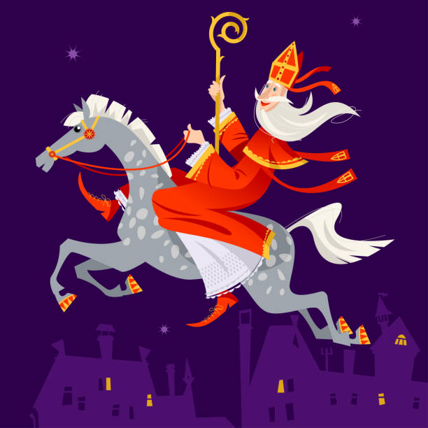 Santa Claus (Sinterklaas) rides a horse over the city at night. Christmas in Holland. Santa Claus (Sinterklaas) rides a horse over the city at night. Christmas in Holland. Vector illustration. sinterklaas stock illustrations
