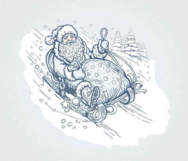 Santa Claus rides a sleigh vector art illustration