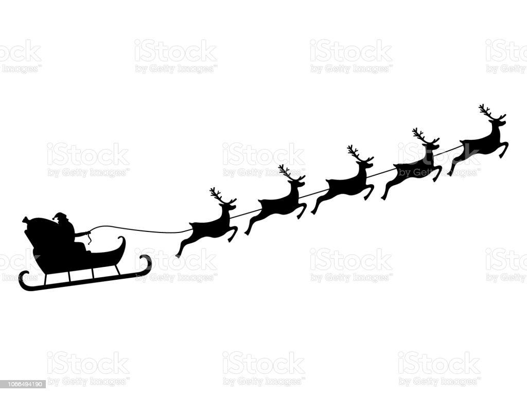 Santa Claus reitet in einem Schlitten im Kabelbaum auf das Rentier - Lizenzfrei Comic - Kunstwerk Vektorgrafik